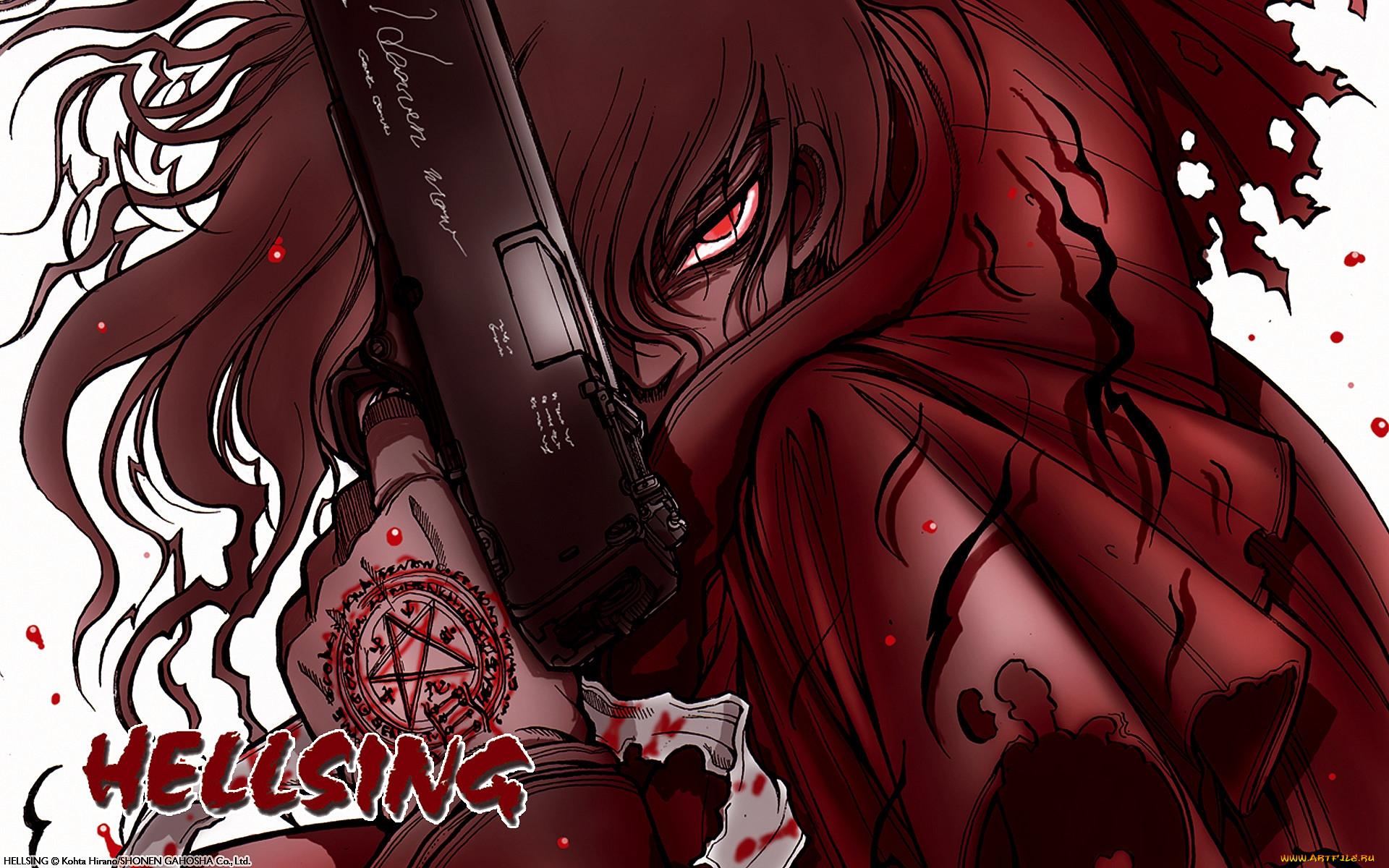 аниме, hellsing, пистолет, взгляд, дракула, вампир, кровь, оружие, alucard, dracula, vampire, алукард
